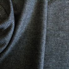 Grey and Charcoal Chequered Wool Flannel Fabric